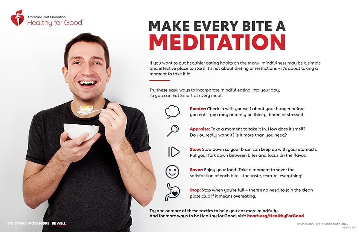 Infografía de meditación sobre alimentación consciente