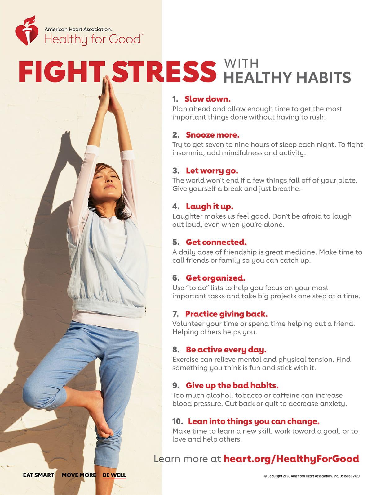 Infografía de Luchar contra el estrés con hábitos saludables