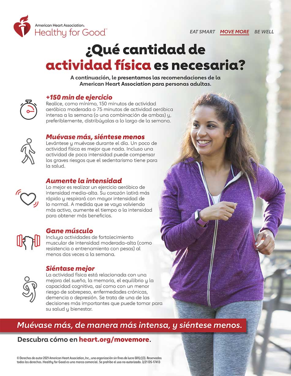 Physical Activity Recommendations for Adults Spanish Infographic