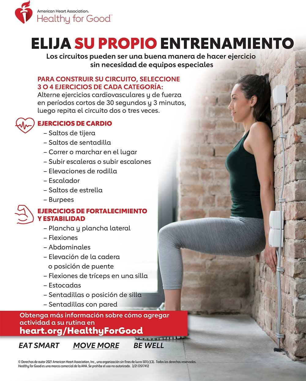 Infografía de Circuito de entrenamiento en casa en español
