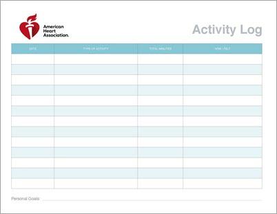 Gráfico en miniatura del registro de actividad física
