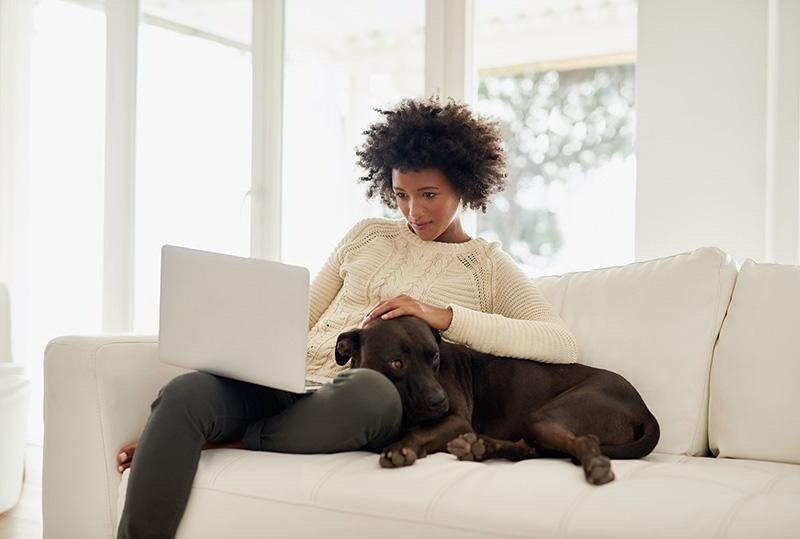 Mujer usando su computadora portátil en el sofá con su perro
