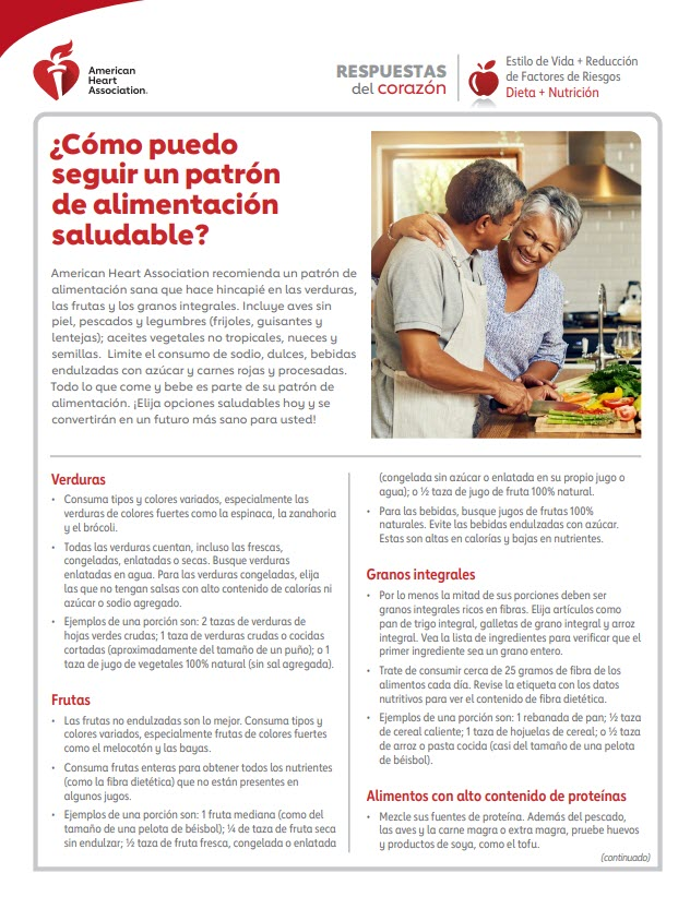 """Hoja de Respuestas del corazón """"¿Cómo seguir una dieta saludable?"""" en español"""