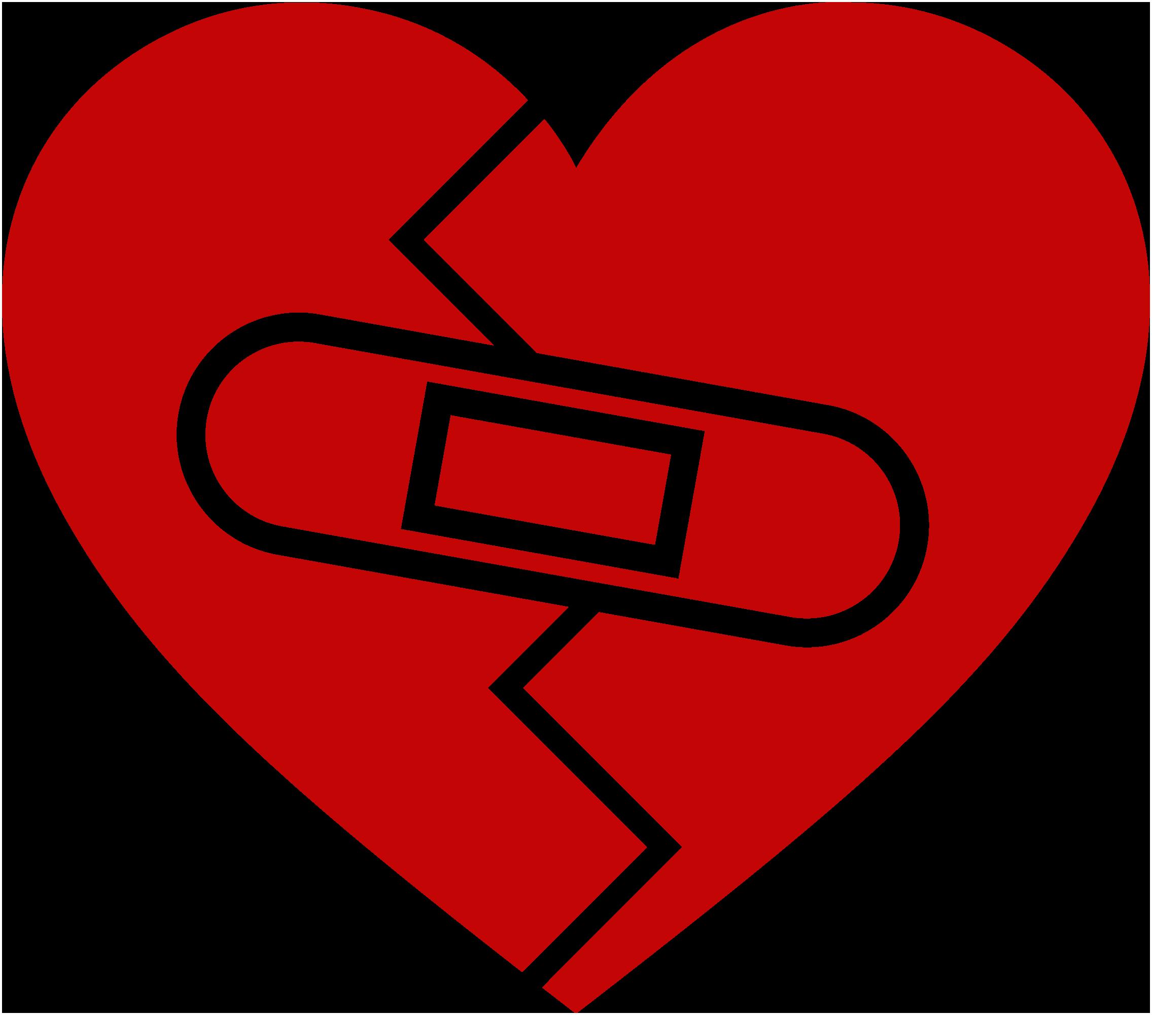 venda dentro de un corazón roto