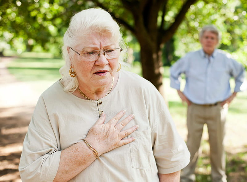 lady with chest pain