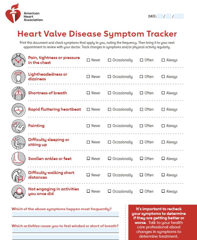 Vista en miniatura de la herramienta de seguimiento de síntomas de valvulopatía