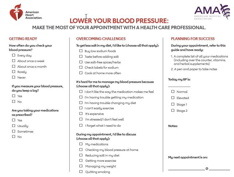 Hoja de preguntas sobre la HA para consultar al médico