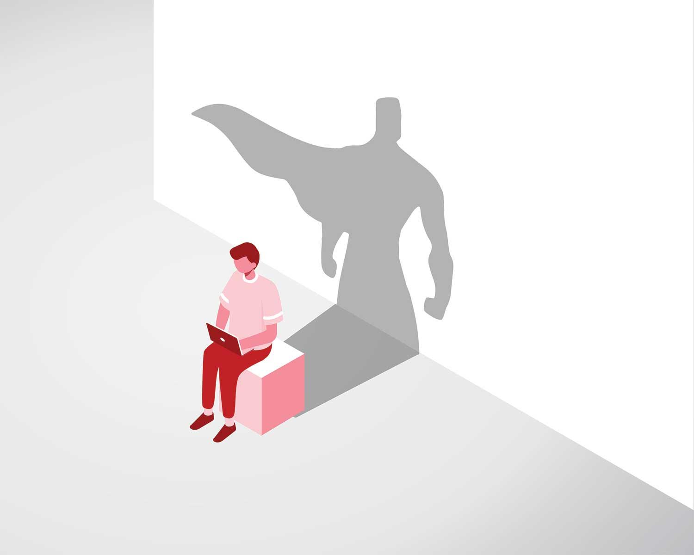 gráfico de hombre en una computadora portátil con sombra de superhéroe