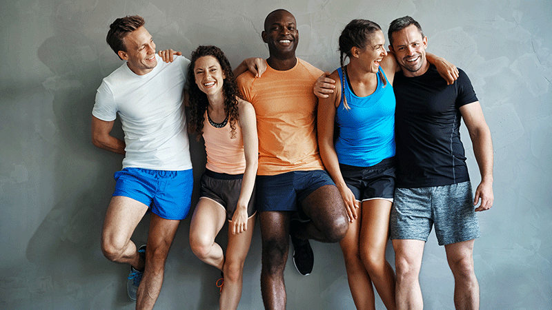 Group of happy multi-ethnic friends after workouts
