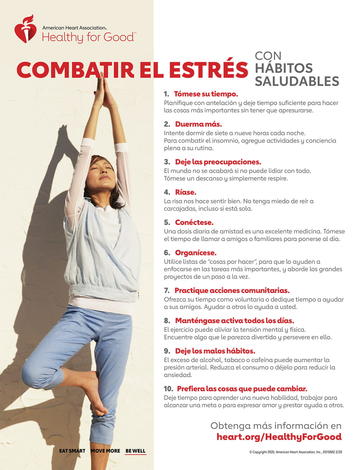 Fight stress with healthy habits infographic in Spanish