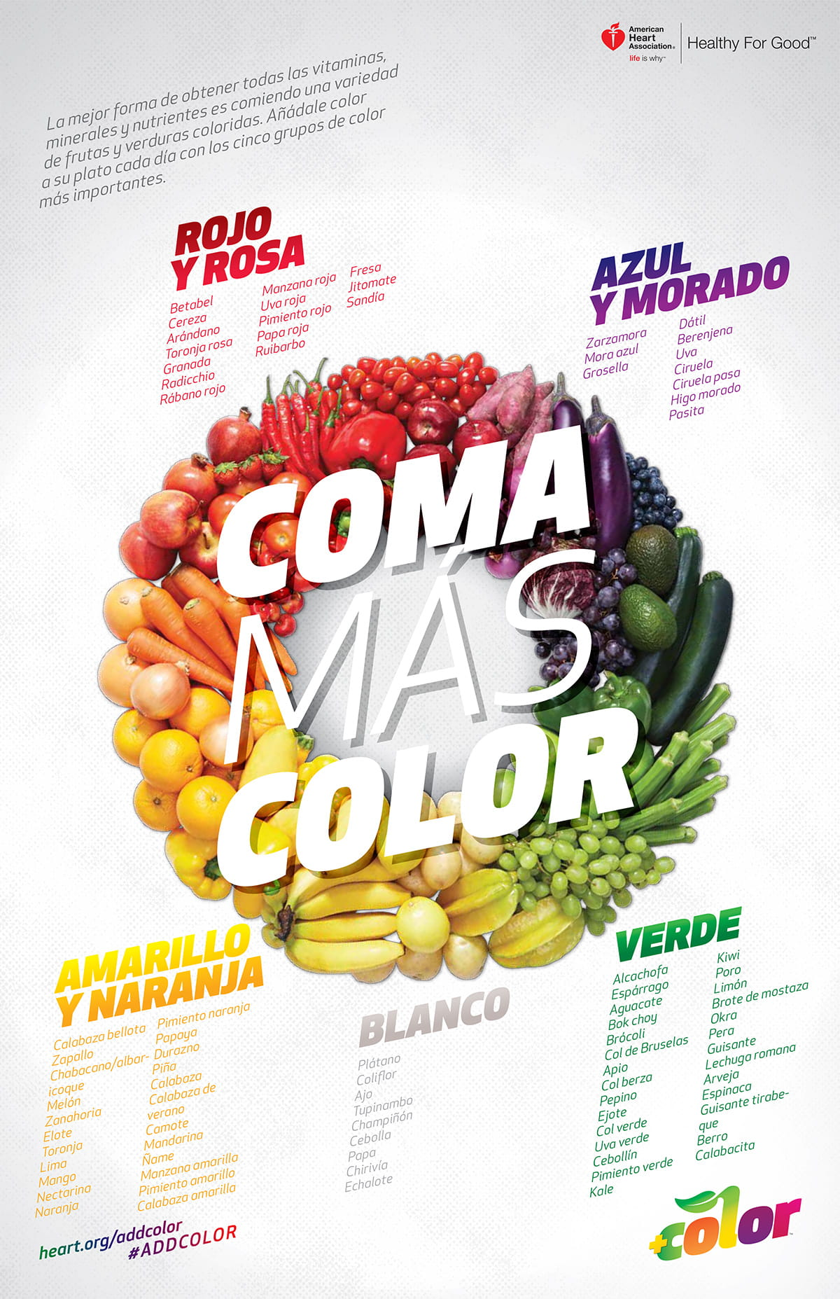 Eat more color infographic in Spanish