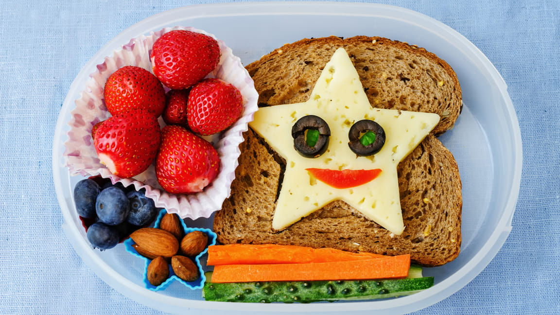 happy face in school lunch