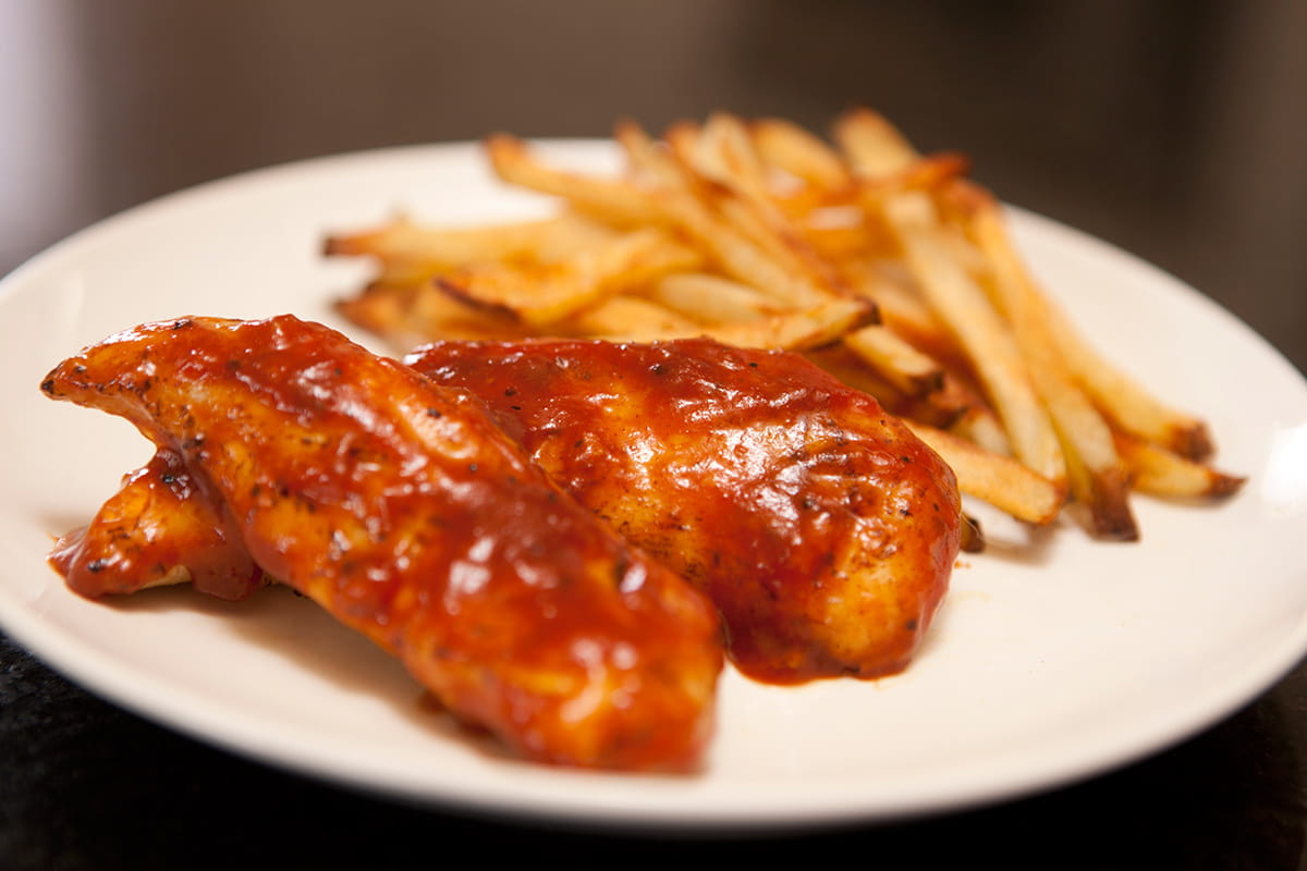 Barbeque Glazed Chicken Tenders and Oven Fries