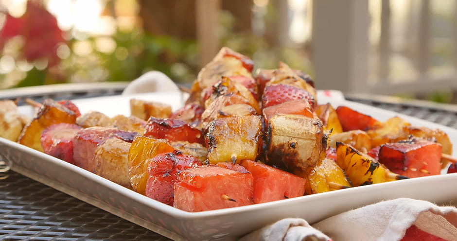 Grilled Fruit Kebabs with Balsamic Drizzle