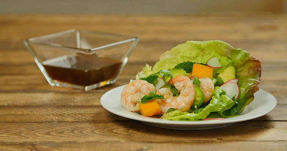 Vietnamese style lettuce wraps with grilled shrimp avocado and mango