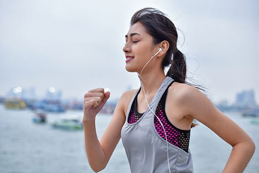 Female jogger with headphones