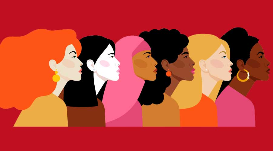 illustration profile of diverse women