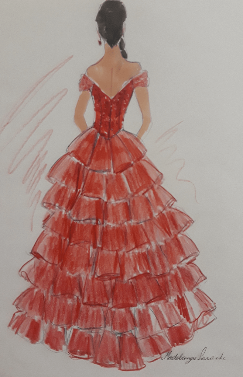 sketch of red dress