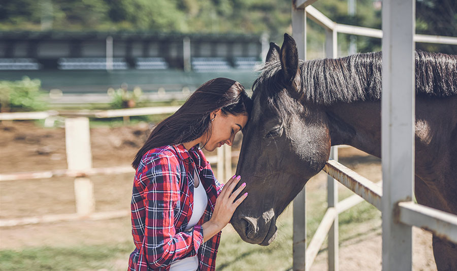 woman hugs horse GettyImages-1047644054