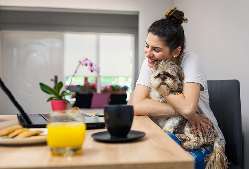 woman using laptop hugs dog