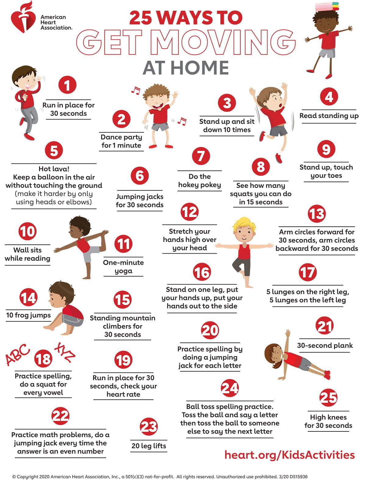 25formas de que los niños estén activos en casa