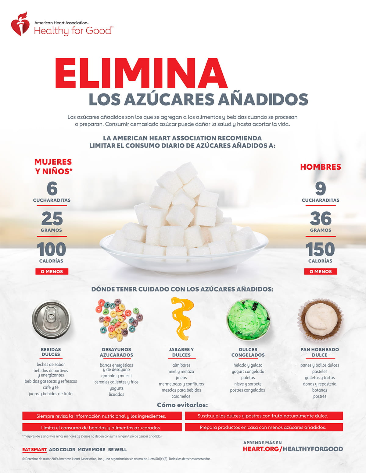 Cut out added sugars infographic in Spanish