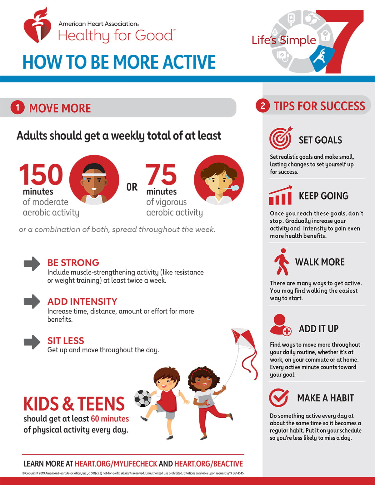 Life's Simple 7 Move more Be Active Infographic