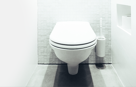 Clean white toilet in crisp modern style bathroom