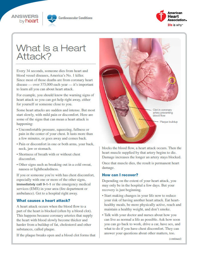 What is heart attack sheet