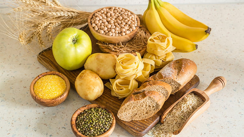 Selection of complex carbohydrates sources on wood background