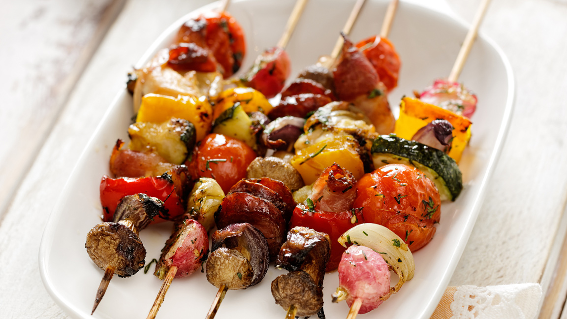 grilled fruit, vegetables and meat on skewer