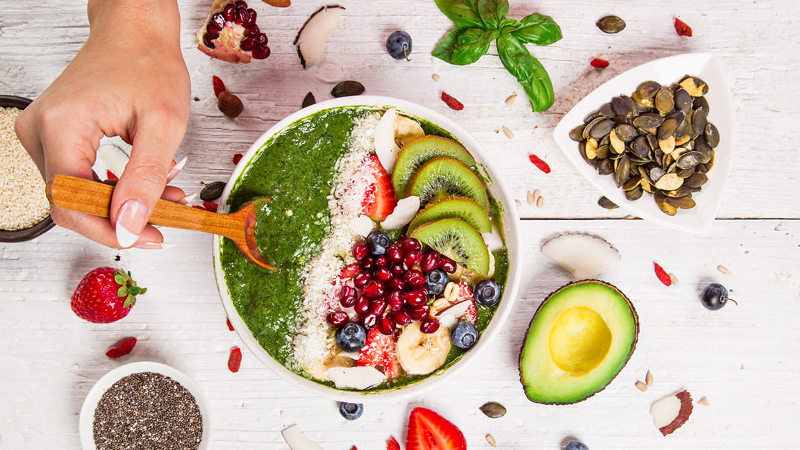 healthy food in and around a bowl