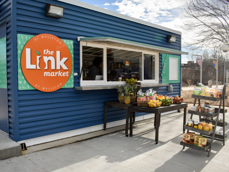 Link Market offers many staple grocery items in the retrofitted shipping containers and mobile units, but places an emphasis on fresh fruits and vegetables at affordable prices.  (Photo by Serena Bugett-Teague)