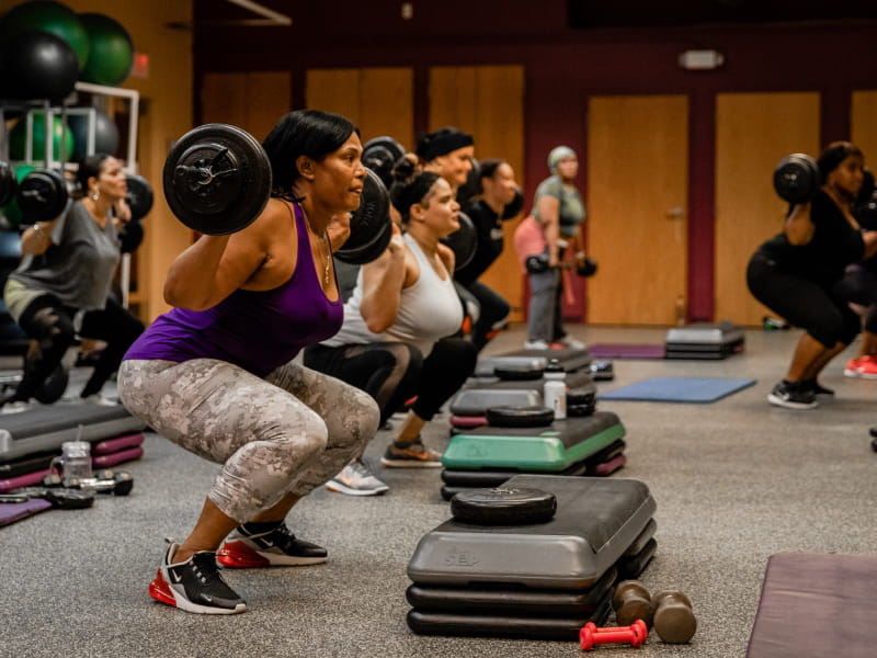 A strength-training class at Boston-based HealthWorks Community Fitness in 2019. (Photo by Kelsey Converse Photography)