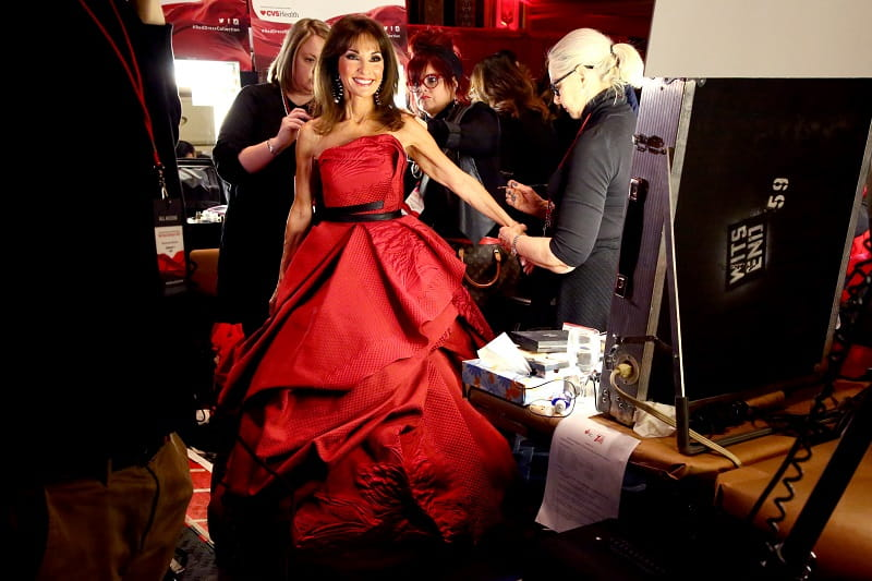 Susan Lucci poses backstage during the Go Red for Women Red Dress Collection Photo by Astrid Stawiarz Getty Images for AHA