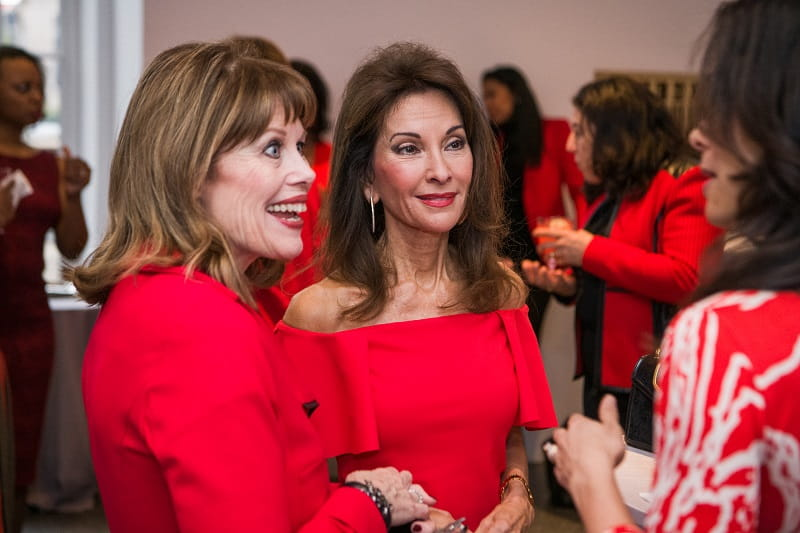 American Heart Association CEO Nancy Brown right and Susan Lucci at the Go Red For Women luncheon