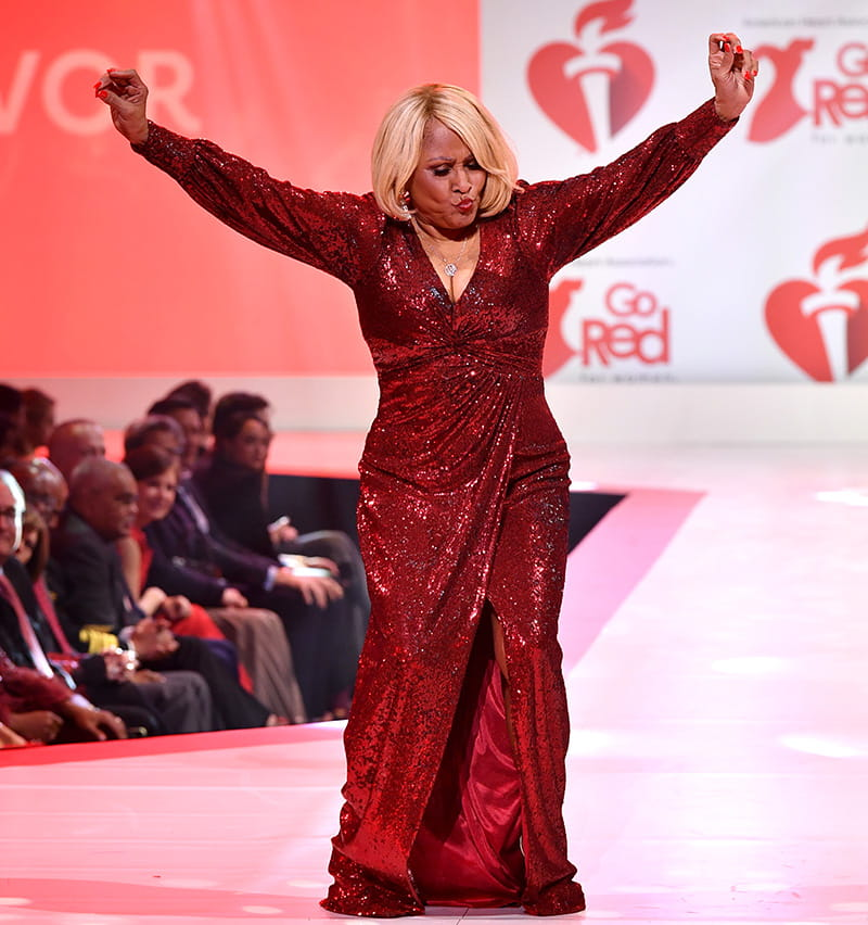 Darlene Love savors her time on the runway at the Red Dress Collection. (Photo by Slaven Vlasic/Getty Images for American Heart Association)