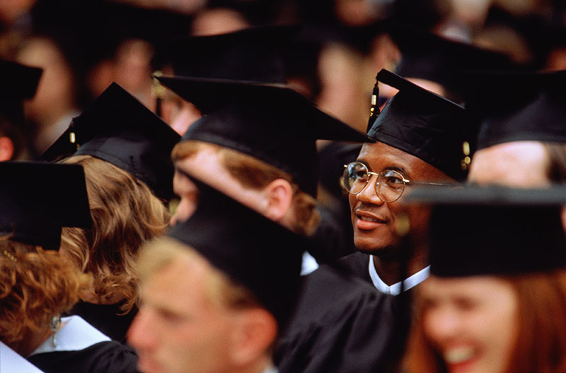 Young man graduating college